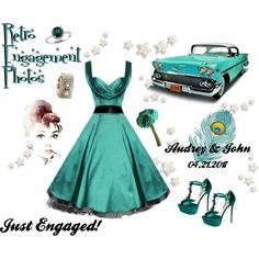 #retro #engagement #vintage #teal #dance #bridemaid #wedding #pinup #style #vintage #rockabilly #1950s