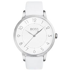 BOSS Ladies Eclipse White Leather Strap Watch 1502409 from House of Watches. Shop our BOSS collection today and get FREE next day delivery. Hugo Boss, Eclipse Watch, Business Mode, Business Outfit, Lion Necklace, Lion Ring, Boss Black, Stainless Steel Case, White Women