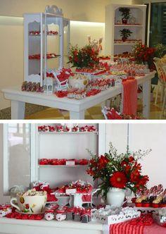 Chá de cozinha da Ingrid | Chá das Panelas Cha Bar, Beautiful Desserts, Christmas Wreaths, Bridal Shower, Dessert Tables, Table Decorations, Holiday Decor, Party, Lingerie