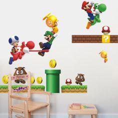 Pegatinas infantiles decorativas Mural Infantil Super Mario Vinilos para Niños. Esta pegatina decorativa será la preferida de los amantes de los videojuegos,en concreto de Super Mario.