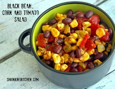 Keep this delicious Black Bean, Corn and Tomato Salad in the fridge for a quick and flavorful lunch or side dish! Black Bean Corn, Black Beans, Healthy Sides, Healthy Side Dishes, Edamame Salad, Salad Recipes, Healthy Recipes, Mouth Watering Food, Tomato Salad