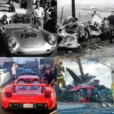 Paul Walker & James Dean's deaths: Both made films that included racing, which would foreshadow their untimely death in car crashes. Both were adrenaline junkies & were killed by their porsche cars on the last day of the month (Dean on Sept 30, 1955 & Walker on Nov 30, 2013) And just look at the last photos taken of James & Paul with their aftermath, the comparison is just haunting. RIP you handsome studs ..I bet the greatest race is happening in heaven right now.