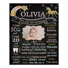 Unicorn First Girls Birthday Party chalkboard sign photo. Mint green and pink poster text with a photo of your baby and a faux glitter unicorn and shooting star Kids Birthday Party Invitations, Art Birthday, Girl First Birthday, Unicorn Birthday Parties, First Birthday Parties, First Birthdays, Unicorn Party, Birthday Ideas, 1st Birthday Chalkboard