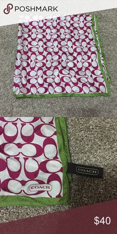 Coach bag scarf Pretty raspberry and green colored Coach scarf for purse. Used once or twice and just didn't like. Brand new condition, smoke free home. Coach Accessories Scarves & Wraps