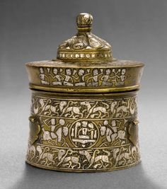 Brass Inkwell Inlaid with Silver and Black Compound, Herat, Early 13th century