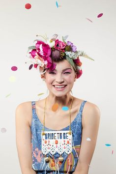 Mexican Flower Headdress Floral Paradise Headdresss by CuriousFair Hens Party Themes, Party Ideas, Floral Headdress, Mexican Flowers, Bride To Be Sash, Hen Party Accessories, Alternative Bride, Bachelorette Weekend, Bridezilla