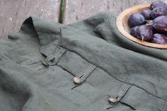 """Natural linen shirt, khaki, metal buttons and """"švestičky""""…"""