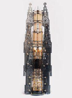 """Dutch lab reveals architectural steampunk cold drip coffee machine."" (Dutch Lab)"
