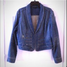 Military Style Front Denim Jacket Gently used... Mint Condition!!  Sits a little below belly button not quite cropped but really doesn't hit the hips.    NO TRADES New York & Company Jackets & Coats Jean Jackets