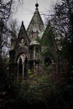 This looks like a dark and eerie looking abandoned temple or church