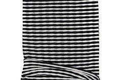 Black and Off White Wavy Stripe Sweater Knit Fabric 1 yard