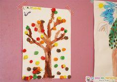Arbre d'automne peint et décoré de Playmais. Une activité à proposer aux enfants, petits et grands !