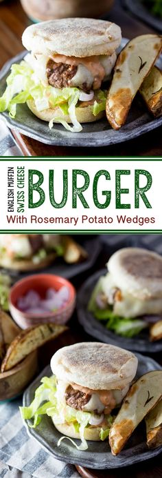 A juicy delicious cheeseburger with a twist. Served on an english muffin, and topped with a flavorful sauce. Served with rosemary potato wedges. #ad  - Eazy Peazy Mealz