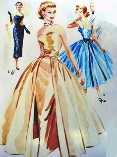 1950s dress illustrations. This could be my dress.