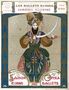 """Ballets Russes, the program from """"Firebird,"""" 1910. Ballets Russes posters are always so exotic. That's a hackneyed phrase, but it the best one to describe them."""