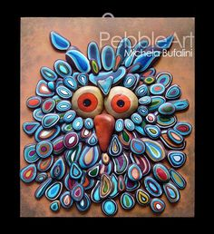 psychedelic Owl cm: 30 x 35 x 4 not available, for orders and information, please write a private message on this page or on the site Pebble Art:. Pebble Painting, Pebble Art, Stone Painting, Rock Painting, Stone Crafts, Rock Crafts, Arts And Crafts, Pebble Stone, Stone Art