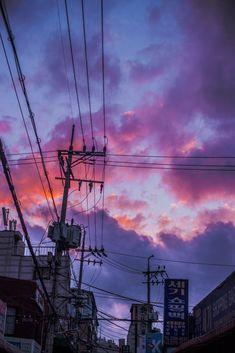 sky aesthetic we will meet soon Purple sky von Eunsub Lee Anime Scenery Wallpaper, Aesthetic Pastel Wallpaper, Aesthetic Backgrounds, Galaxy Wallpaper, Aesthetic Wallpapers, Sunrise Wallpaper, Travel Wallpaper, Computer Wallpaper, Japon Illustration