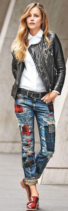 Denim Style • Street CHIC • ♥ Fashion inspiration Women apparel | Women's…