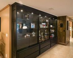 48 trophy display case w frameless design adjustable shelves sliding door black hobby. Black Bedroom Furniture Sets. Home Design Ideas