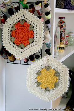 flower hexagon crochet motif 1 ⋆ Crochet Kingdom