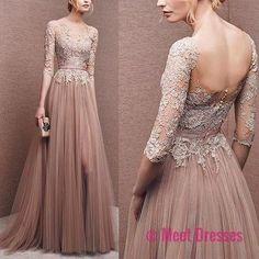 Elegant prom dress, long prom dress,lace prom dress, long sleeve prom dress, a line prom dress, evening dress, charming affordable prom dress