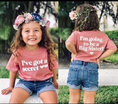 Ive got a secret Big sister shirt sister onesie® big sis Baby Number 2 Announcement, Second Pregnancy Announcements, Big Sister Announcement, Cute Baby Announcements, Baby Announcement Pictures, Country Pregnancy Announcement, Pregnancy Ultrasound, Pregnancy Art, Pregnancy Clothes