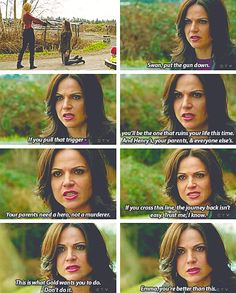 Regina giving Emma the speech that no one was there to give her, beautiful to see all the bad decisions she made and pain she went through getting used to save others. What could be more heroic than that?