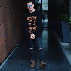 cheesing v hard Pretty Boys, Cute Boys, Blake Steven, Black Leather Biker Jacket, Tumblr Boys, Mens Glasses, Dream Guy, Fangirl, Casual Outfits