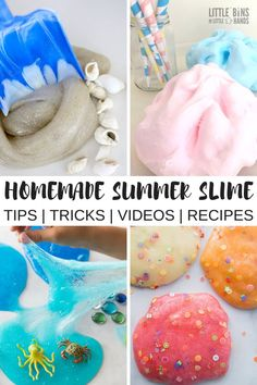 Simply summer with an array of summer slime recipes to dazzle the senses. Homemade slime for the seasons is an AMAZING way to celebrate the activities, weather, and events around us! What themes remind you of summer? Go ahead, we challenge you to create your favorite summer theme slime with any of our basic slime recipes. We give you the tips and tricks you need to make slime today! #summerslime #slime #slimerecipe #howtomakeslime #kidsactivities #fluffyslime #sensoryplay #cottoncandy #ocean