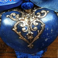 """Купить """"Санта на крыше"""" Большое Рождественское Сердце - яркий, синий, сердце подвеска, подвеска, рождество"""
