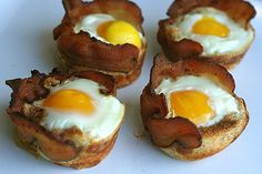 Bacon, egg and toast cups. My kids will love!