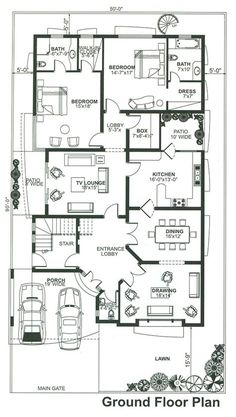 Amazing Beautiful House Plans With All Dimensions - Engineering Discoveries Beautiful House Plans, Simple House Plans, New House Plans, Dream House Plans, House Floor Plans, 40x60 House Plans, House Layout Plans, Bungalow House Plans, House Layouts