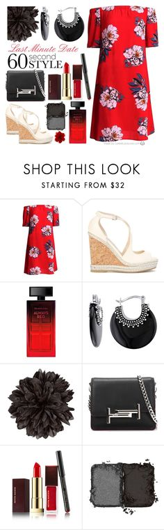 """Last Minute Date: 60 Second Style"" by curekitty ❤ liked on Polyvore featuring Jimmy Choo, Elizabeth Arden, Allura, Gucci, Tod's, Kevyn Aucoin, NARS Cosmetics, DateNight, tshirtdresses and 60secondstyle"