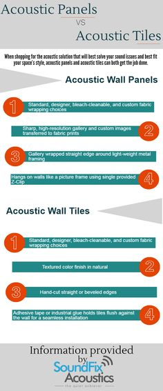 Acoustic Panels and acoustic Tiles both are having their own benefits which make them ideal for soundproofing solutions. Some of the difference between acoustic panels and tiles are explained in this infographic.