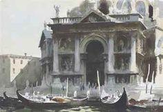"""Edward Seago """"Gondolas by the Salute, Venice"""" (matita e acquerello su carta; Watercolor Landscape, Landscape Paintings, Watercolor Art, Watercolour Paintings, Landscapes, Claude Monet, Guache, English Artists, Traditional Paintings"""