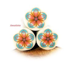 Polymer clay flower cane: Raw polymer clay cane - Millefiori cane supplies - Blue-pink flower cane - Supplies for jewelers