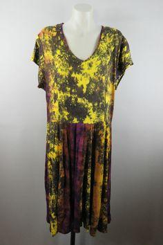 BARGAIN  $  12.35 !  Size XL 16 Ladies Dress Casual Tie Dye Gypsy Hippie Boho Beach Stretch Design