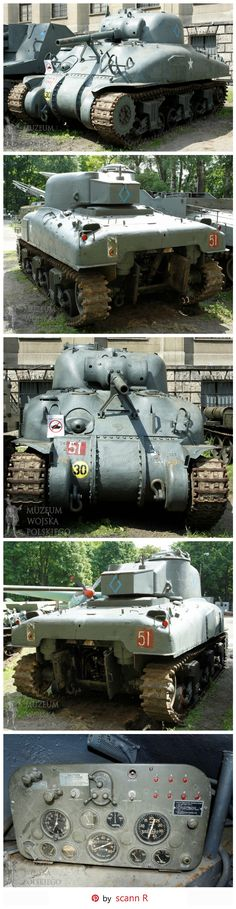 """Medium tank M4A1 Sherman """"Grizzly"""" of the 1st Armoured Polish Regiment / 10th Armoured Calvalry Brigade / 1st Polish Armoured Division. The diamond symbol on the side and back of the turret tells us it is part of the Regimental HQ It should have been red because the color blue was usually used for the 24th Polish lancers regiment - Location: Polish War Museum in Warsaw. http://www.muzeumwp.pl/czolg-sredni-m4a1-sherman-grizzly.php"""