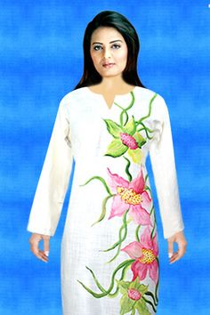 Off White Handpainted Kurti designed By Harmeen. Browse through for more latest fashion collection.