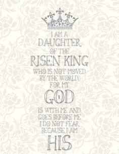What a blessing it is to be a Daughter of the King!  Here's a free printable for you...with love from me.  www.treasuredandblessed.blogspot.com