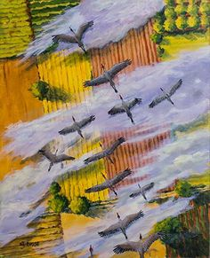 """Wildlife Art International: Contemporary Wildlife Bird Painting """"Fly South"""" by Colorado Artist Nancee Jean Busse, Painter of the American West"""
