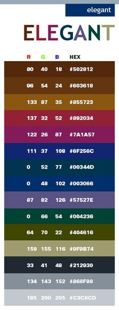 color combinations for graphic design | Elegant color schemes, color combinations, color palettes for