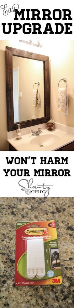 and Easy Way to Update a Bathroom! Great tutorial for updating a boring bathroom mirror! I need this!Great tutorial for updating a boring bathroom mirror! I need this! Diy Home Decor Rustic, Home Goods Decor, Diy Home Improvement, My New Room, Home Projects, Diy Furniture, Industrial Furniture, Architecture Design, Sweet Home