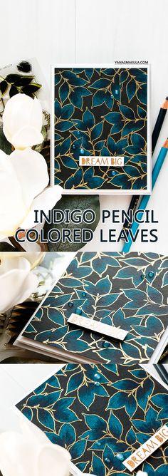 WPlus9 | Dream Big Indigo Pencil Colored Leaves Background Card by Yana Smakula