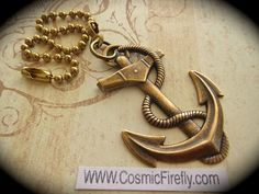 Brass Anchor Fan Pull Steampunk Fan Pull Nautical by CosmicFirefly, $16.95