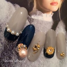 かわいいネイルを見つけたよ♪ #nailbook Nail Art Hacks, Nail Art Diy, Cool Nail Art, Blue Nails, My Nails, Asian Nails, Nail Selection, Spring Nail Trends, Japanese Nail Art