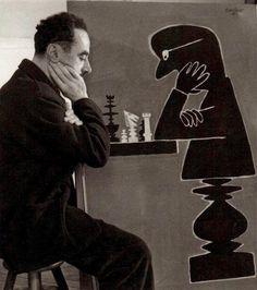 Robert Doisneau - Savignac aux échecs, 1950