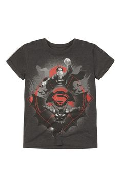 Primark - Grey Graphic Batman Superman T-Shirt