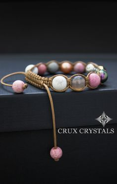 Tulip, Women\'s Shamballa Bracelet, Beaded Bracelet, Swarovski Elements, Natural Stone, Mother\'s Day, Rhodonite Bracelet, Wrap Bracelet, Boho