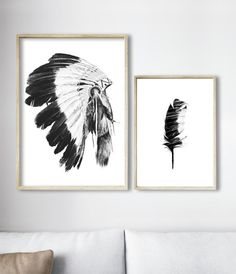 Tribal Art, Indian Headddress Print, Tribal Decor, Boho Home Decor by Little Ink Empire on Etsy